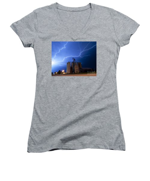 Women's V-Neck T-Shirt (Junior Cut) featuring the photograph Rural Lightning Storm by Art Whitton