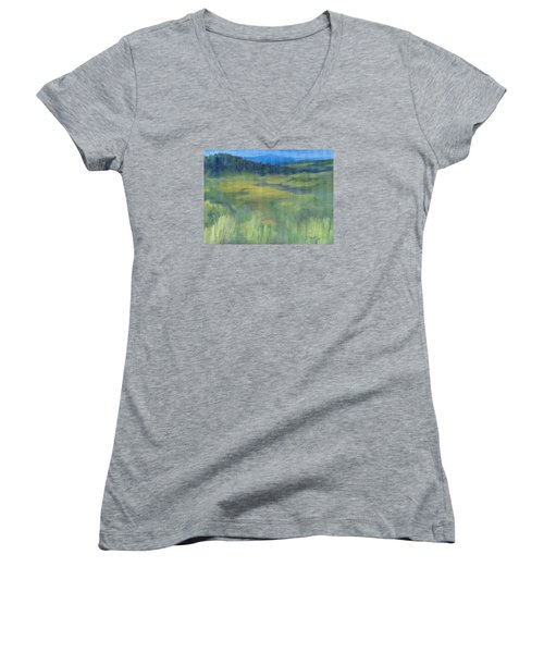 Rural Valley Landscape Colorful Original Painting Washington State Water Mountains K. Joann Russell Women's V-Neck T-Shirt