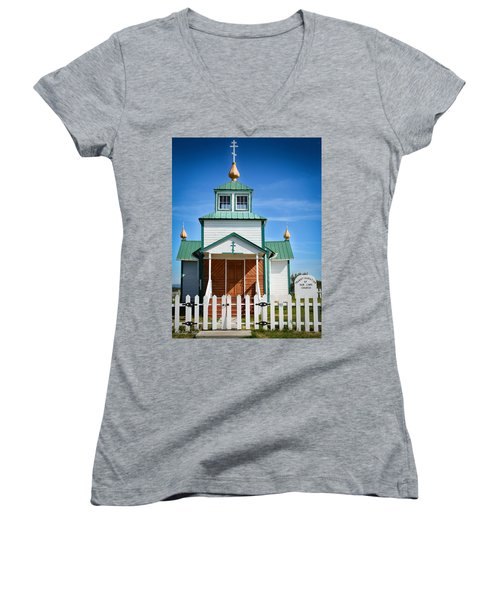 Russian Orthodox Church Women's V-Neck T-Shirt (Junior Cut) by Andrew Matwijec