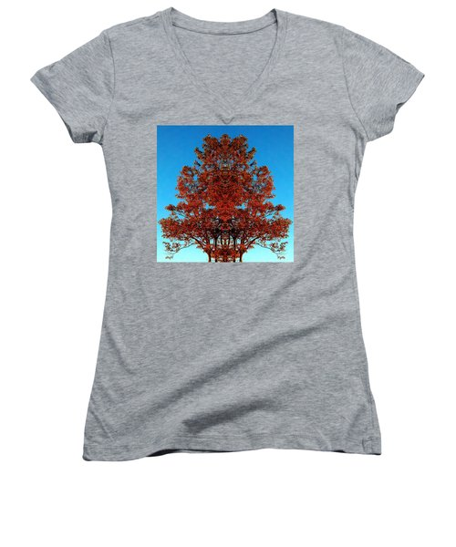 Women's V-Neck T-Shirt (Junior Cut) featuring the photograph Rust And Sky 2 - Abstract Art Photo by Marianne Dow