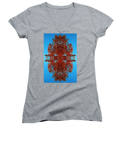 Women's V-Neck T-Shirt (Junior Cut) featuring the photograph Rust And Sky 4 - Abstract Art Photo by Marianne Dow