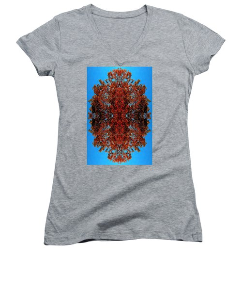 Women's V-Neck T-Shirt (Junior Cut) featuring the photograph Rust And Sky 5 - Abstract Art Photo by Marianne Dow