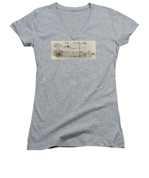 Rust Wind And Time Are Not Kind Women's V-Neck T-Shirt (Junior Cut) by Wilma  Birdwell