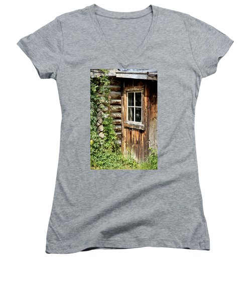 Rustic Cabin Window Women's V-Neck T-Shirt (Junior Cut) by Athena Mckinzie