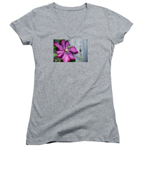 Women's V-Neck T-Shirt (Junior Cut) featuring the photograph Rustic Clematis by Susan  McMenamin