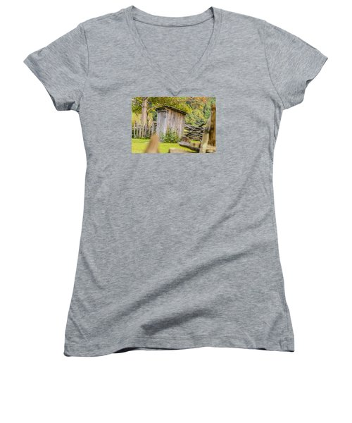 Rustic Fence And Outhouse Women's V-Neck T-Shirt