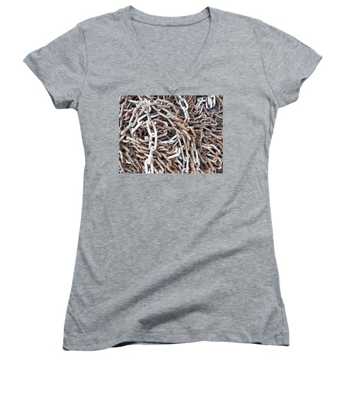 Women's V-Neck T-Shirt (Junior Cut) featuring the photograph Rusty Links by Cheryl Hoyle