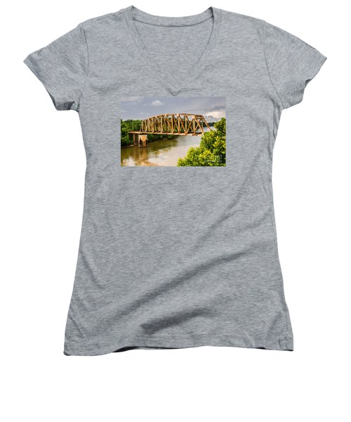Women's V-Neck T-Shirt (Junior Cut) featuring the photograph Rusty Old Railroad Bridge by Sue Smith