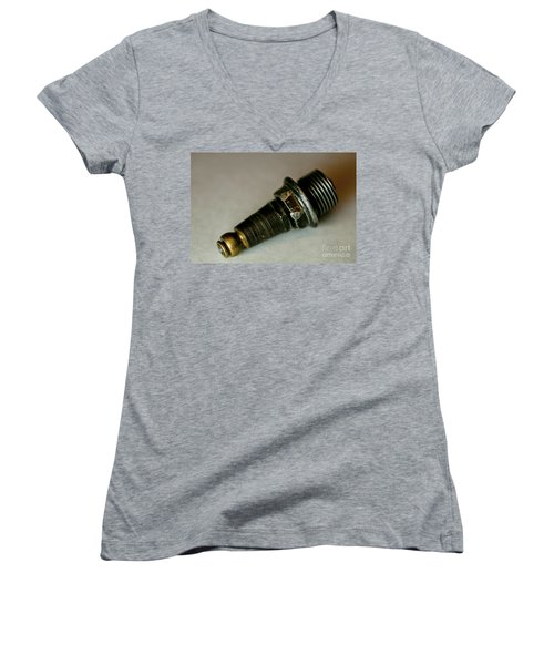 Women's V-Neck T-Shirt (Junior Cut) featuring the photograph Rusty Old Spark Plugs by Wilma  Birdwell