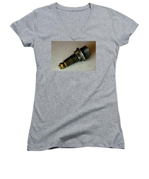 Rusty Old Spark Plugs Women's V-Neck T-Shirt (Junior Cut) by Wilma  Birdwell