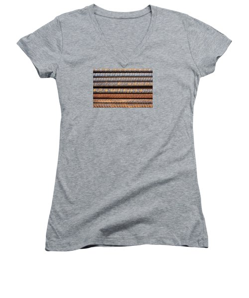 Rusty Rebar Rods Metallic Pattern Women's V-Neck (Athletic Fit)