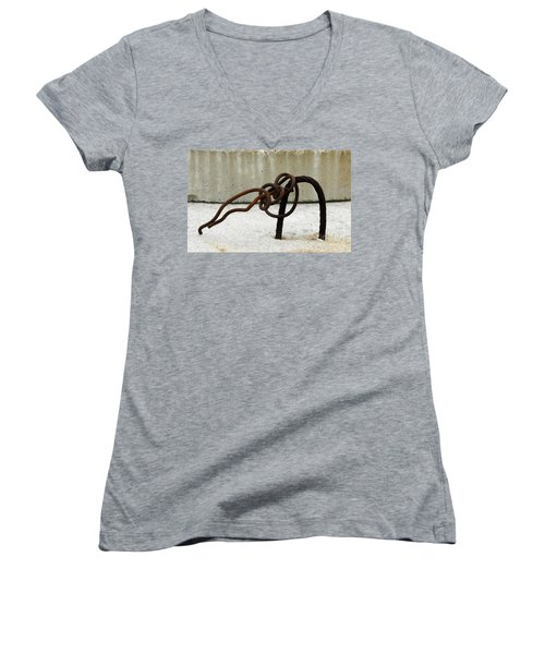 Women's V-Neck T-Shirt (Junior Cut) featuring the photograph Rusty Twisted Metal I by Lilliana Mendez