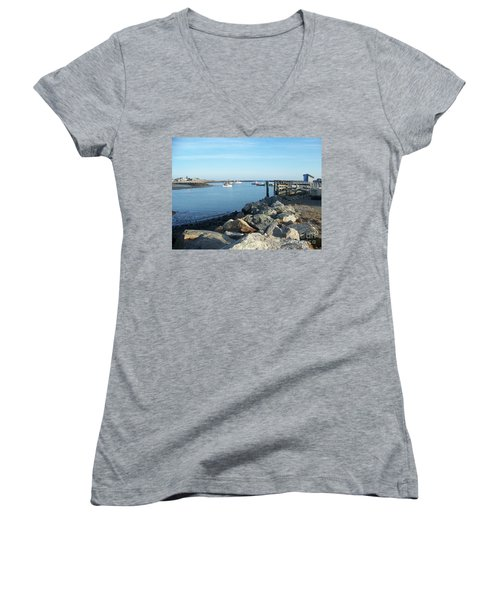 Women's V-Neck T-Shirt (Junior Cut) featuring the photograph Rye Harbor  by Eunice Miller