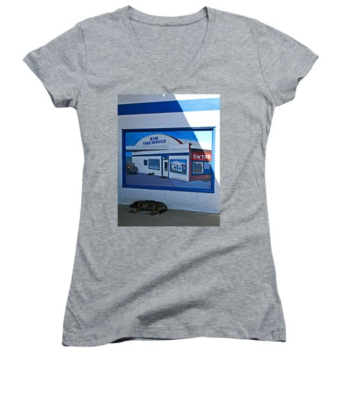 S And W Tire Service Mural Women's V-Neck