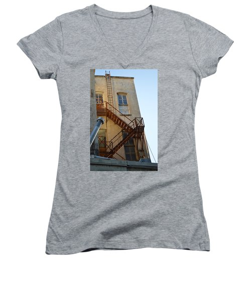Women's V-Neck T-Shirt (Junior Cut) featuring the photograph Sa 001  by Shawn Marlow