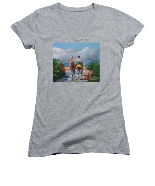 Sabanero And Wife Crossing A River Women's V-Neck T-Shirt