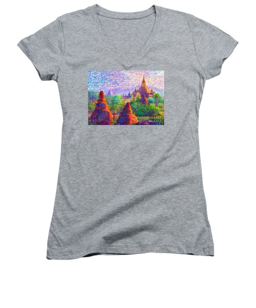 Women's V-Neck T-Shirt (Junior Cut) featuring the painting Bagan, Burma, Sacred Spires by Jane Small