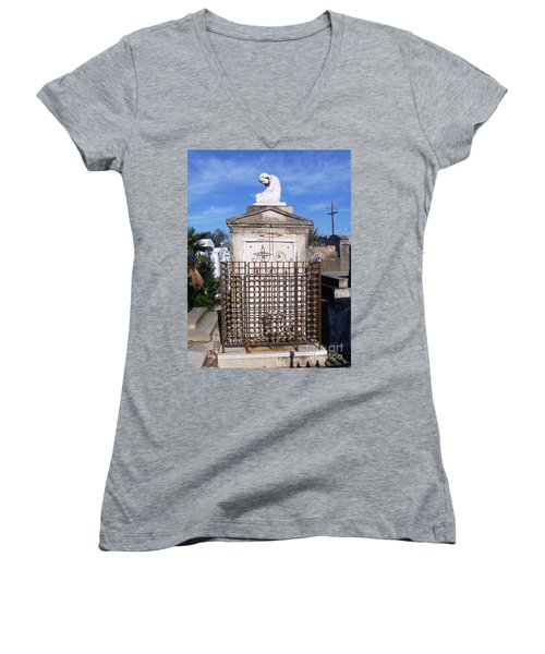 Women's V-Neck T-Shirt (Junior Cut) featuring the photograph Saddest Statue Tomb by Alys Caviness-Gober