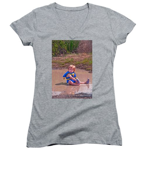 Safety Is Important - Toddler In Mudpuddle Art Prints Women's V-Neck T-Shirt (Junior Cut) by Valerie Garner