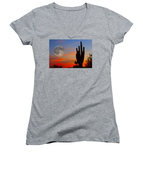 Saguaro Full Moon Sunset Women's V-Neck