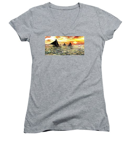 Women's V-Neck T-Shirt (Junior Cut) featuring the painting Sail Away With Me by Shana Rowe Jackson