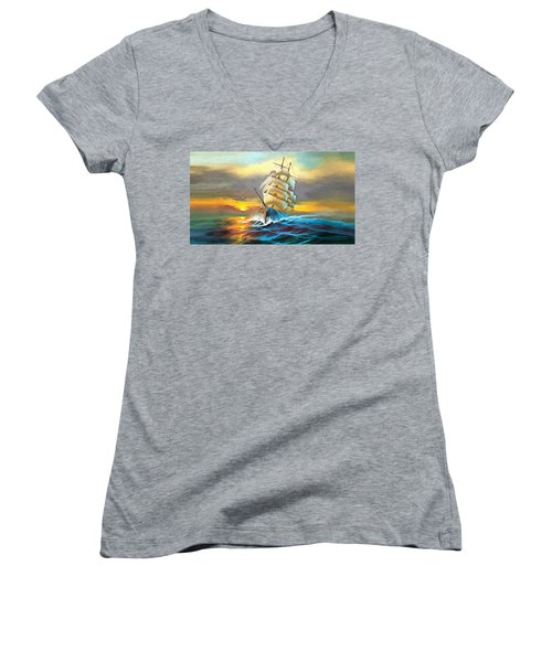 Sail Boat Full Sails Women's V-Neck