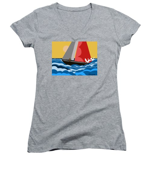 Sail Day Women's V-Neck T-Shirt (Junior Cut) by Christine Fournier