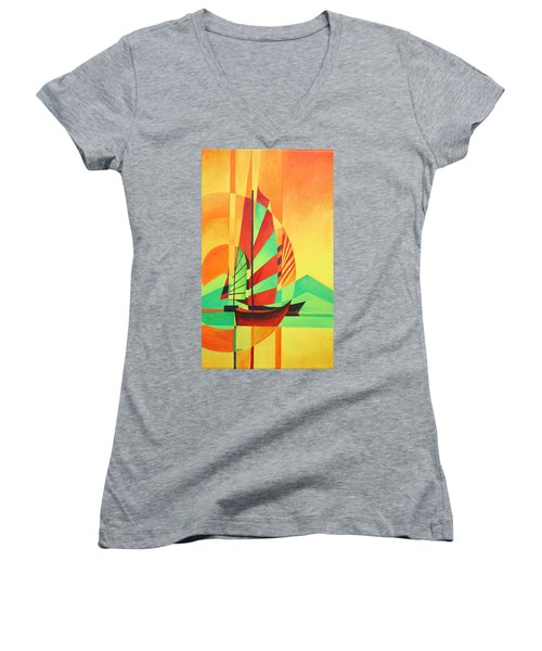 Women's V-Neck T-Shirt (Junior Cut) featuring the painting Sail To Shore by Tracey Harrington-Simpson