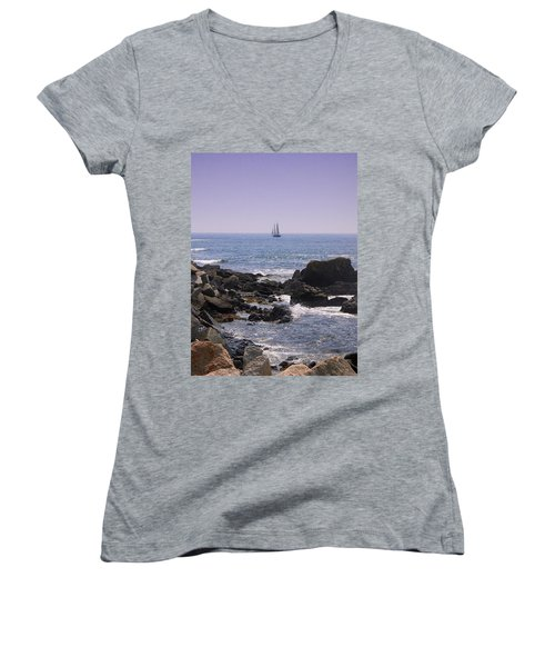 Sailboat - Maine Women's V-Neck T-Shirt (Junior Cut) by Photographic Arts And Design Studio