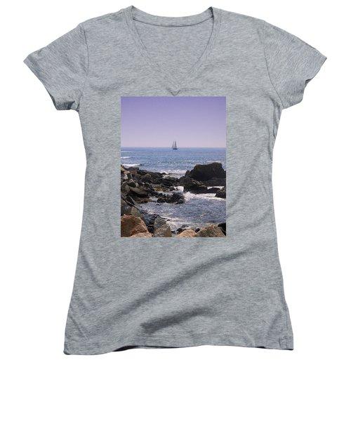 Sailboat - Maine Women's V-Neck T-Shirt
