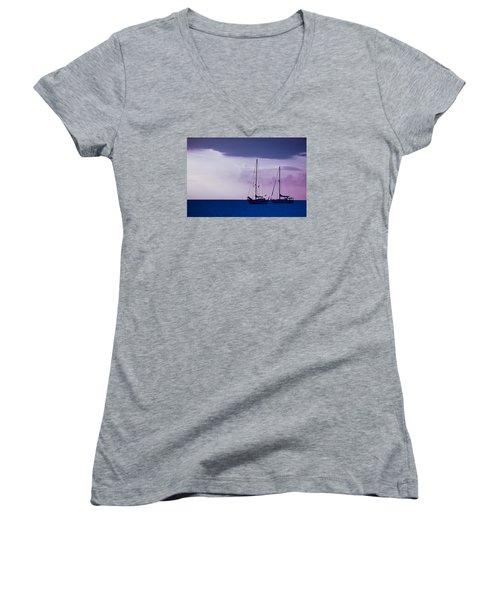 Women's V-Neck T-Shirt (Junior Cut) featuring the photograph Sailboats At Sunset by Don Schwartz
