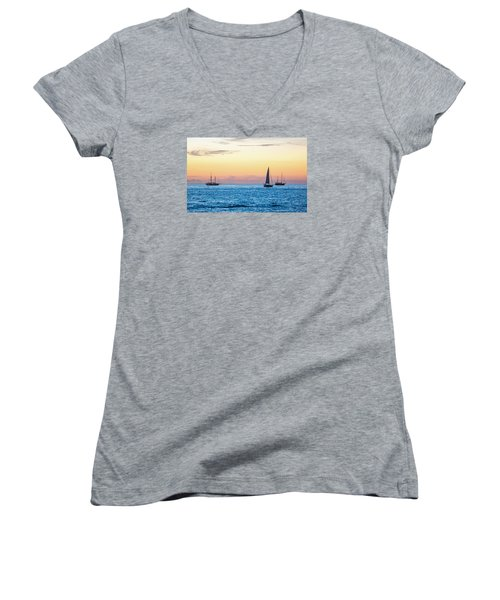 Sailboats At Sunset Off Key West Florida Women's V-Neck T-Shirt (Junior Cut) by Photographic Arts And Design Studio