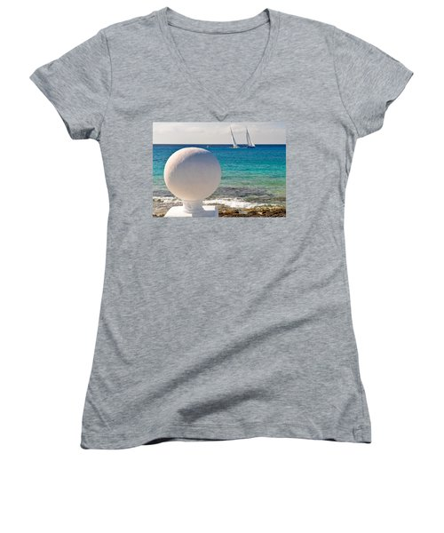 Sailboats Racing In Cozumel Women's V-Neck T-Shirt