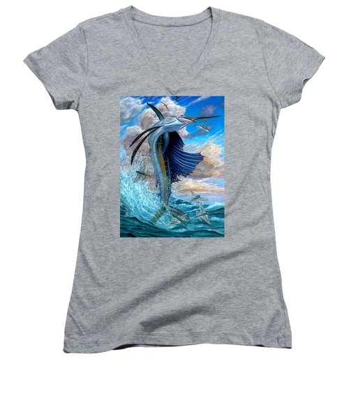 Sailfish And Flying Fish Women's V-Neck (Athletic Fit)