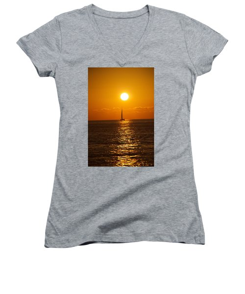 Sailing At Sunset Women's V-Neck T-Shirt