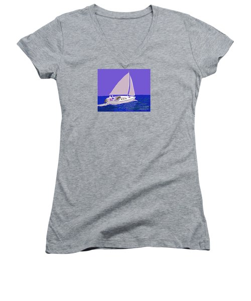 Sailing Blue Ocean Women's V-Neck T-Shirt