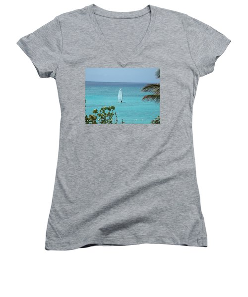 Women's V-Neck T-Shirt (Junior Cut) featuring the photograph Sailing by David S Reynolds