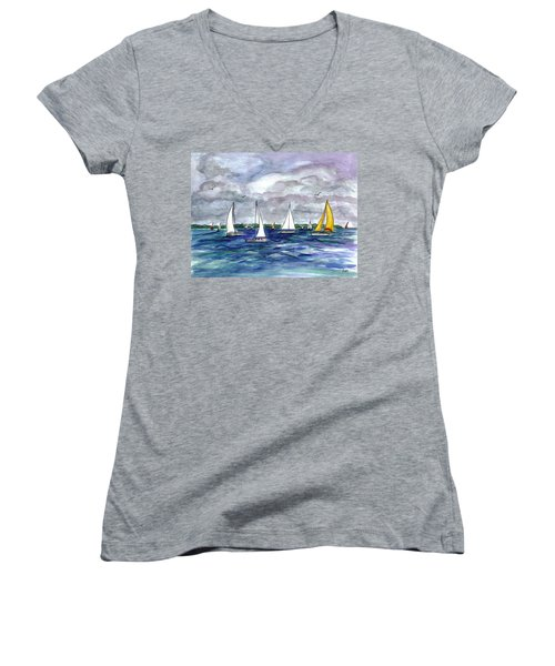 Sailing Day Women's V-Neck T-Shirt (Junior Cut)