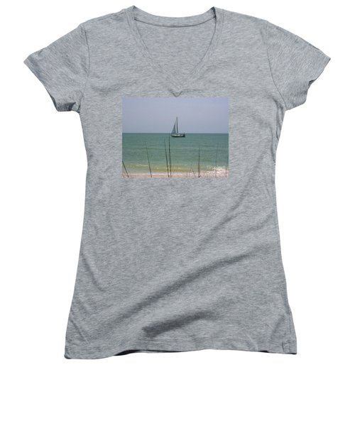 Women's V-Neck T-Shirt (Junior Cut) featuring the photograph Sailing In The Gulf by D Hackett
