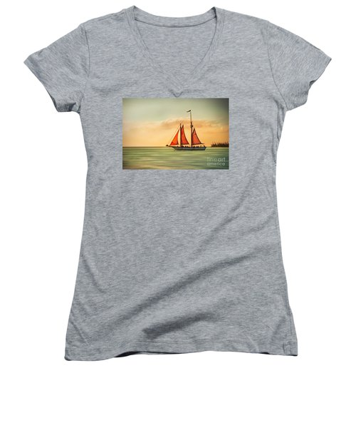Sailing Into The Sun Women's V-Neck