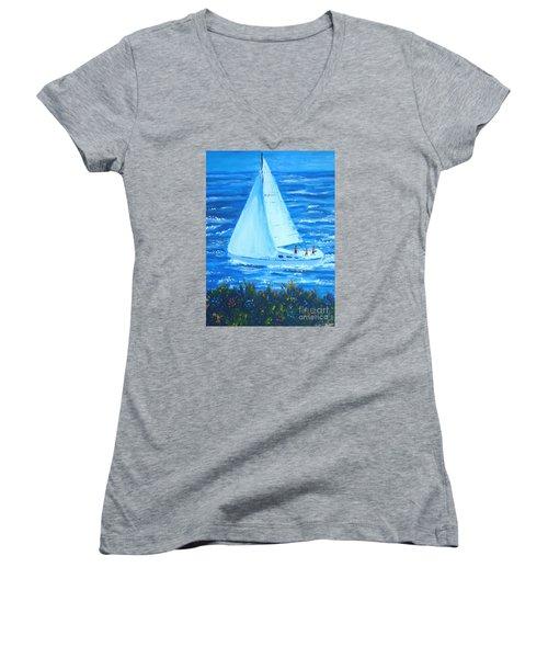 Sailing Off The Coast Women's V-Neck T-Shirt