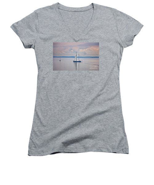 Women's V-Neck T-Shirt (Junior Cut) featuring the photograph Sailing On A Misty Morning Art Prints by Valerie Garner