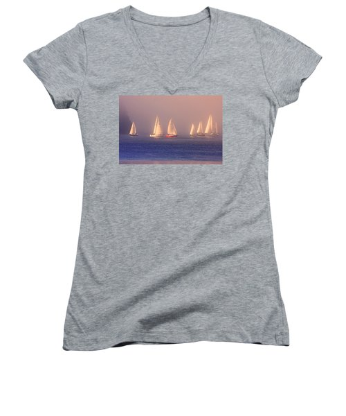 Sailing On A Misty Ocean Women's V-Neck
