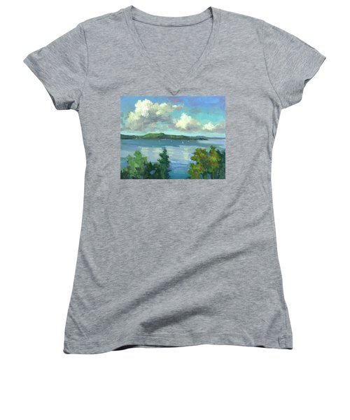 Sailing On Puget Sound Women's V-Neck