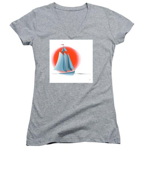Sailing Red Sun Women's V-Neck