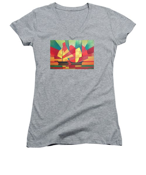 Women's V-Neck T-Shirt (Junior Cut) featuring the painting Sails And Ocean Skies by Tracey Harrington-Simpson