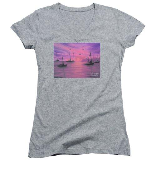 Sails At Dusk Women's V-Neck T-Shirt (Junior Cut) by Holly Martinson