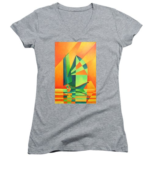 Women's V-Neck T-Shirt (Junior Cut) featuring the painting Sails At Sunrise by Tracey Harrington-Simpson