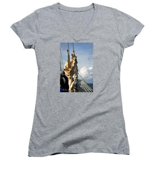 Sails Women's V-Neck T-Shirt (Junior Cut) by Joan Davis