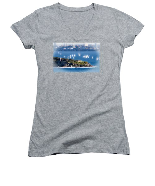 Women's V-Neck T-Shirt (Junior Cut) featuring the photograph Sails Out To Play by Miroslava Jurcik